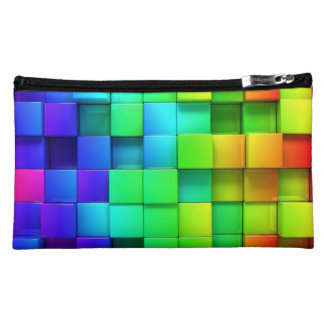 Colorful Rainbow Box Pattern Makeup Bag