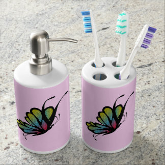 Colorful Rainbow Butterfly Pink Bathroom Set