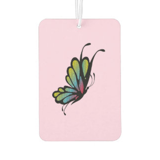 Colorful Rainbow Butterfly Pink Car Air Freshener