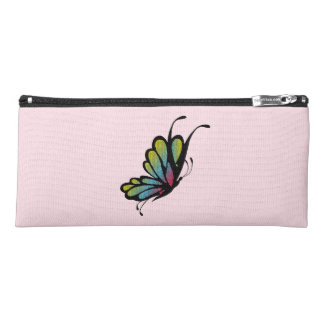 Colorful Rainbow Butterfly Pink Pencil Case