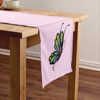 Colorful Rainbow Butterfly Pink Short Table Runner