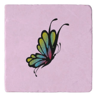 Colorful Rainbow Butterfly Pink Trivet