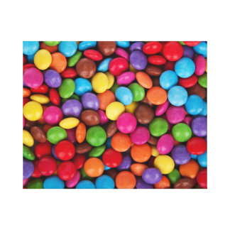 Colorful rainbow candy sweets gallery wrapped canvas