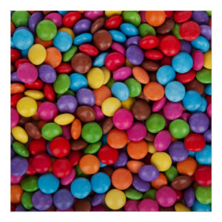 Colorful rainbow candy sweets poster