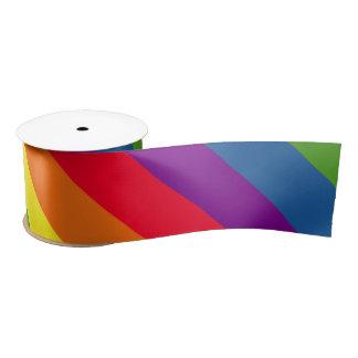 Colorful Rainbow Celebration Diagonal Stripes Satin Ribbon