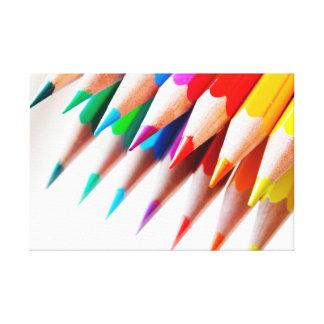 Colorful Rainbow Colored Pencils Photo Canvas Print
