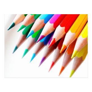 Colorful Rainbow Colored Pencils Photo Postcard