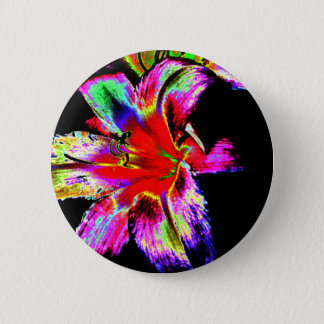 Colorful Rainbow Daylily 2 Inch Round Button