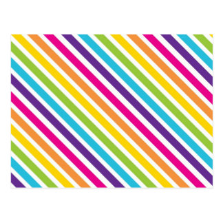 Colorful Rainbow Diagonal Stripes Gifts for Teens Postcard