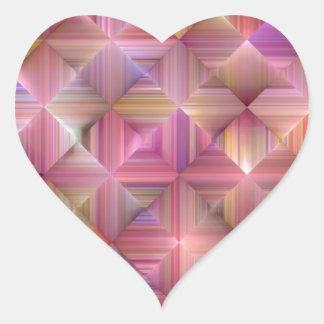 Colorful Rainbow Diamond Design Heart Sticker