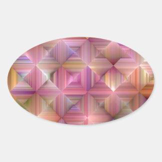 Colorful Rainbow Diamond Design Oval Sticker