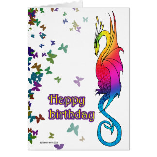 Colorful Rainbow Dragon Birthday card