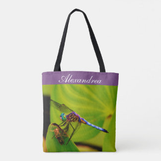 Colorful rainbow Dragonfly   w/ Name Tote Bag