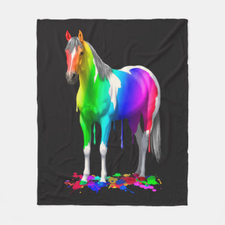 Colorful Rainbow Dripping Wet Paint Horse Fleece Blanket