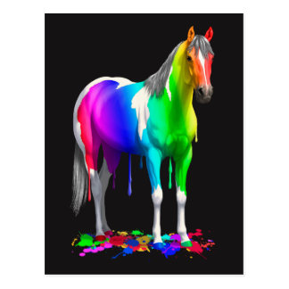 Colorful Rainbow Dripping Wet Paint Horse Postcard