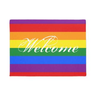 Colorful rainbow flag door mat with welcome text