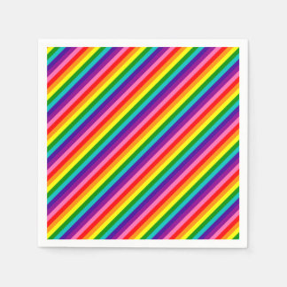 Colorful Rainbow Flag Stripes Pattern LGBT Bright Disposable Napkins