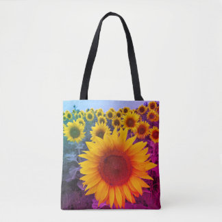 Colorful Rainbow Floral Yellow Sunflowers Harvest Tote Bag