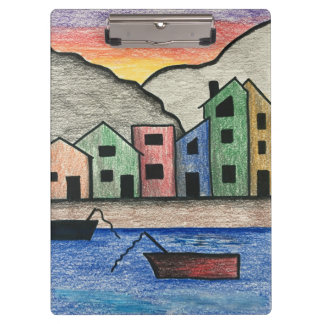 Colorful Rainbow Folk Art Wharf Village Seascape Clipboard