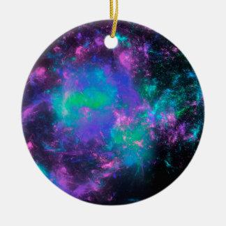 colorful rainbow fractals round ceramic ornament