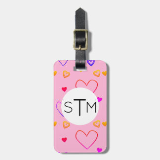 Colorful Rainbow Heart Pattern Luggage Tag
