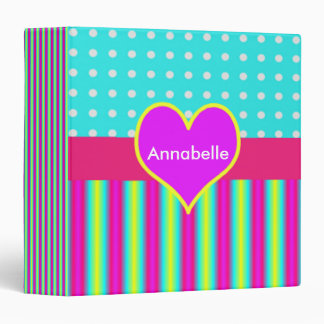 Colorful Rainbow Heart Striped Polka Dots 3 Ring Binder