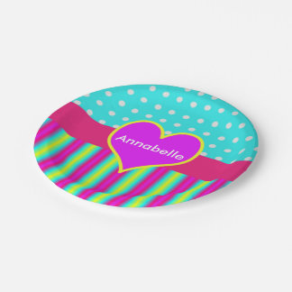 Colorful Rainbow Heart Striped Polka Dots Paper Plate