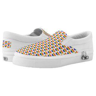 Colorful Rainbow Hearts Pattern Slip-On Sneakers