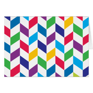 Colorful Rainbow Herringbone Pattern Card