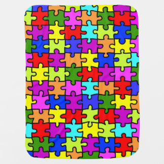 Colorful rainbow jigsaw puzzle pattern baby stroller blanket