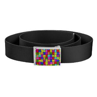 Colorful rainbow jigsaw puzzle pattern belt