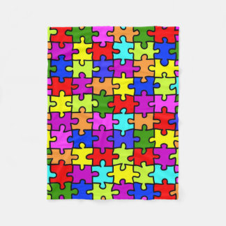 Colorful rainbow jigsaw puzzle pattern fleece blanket