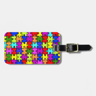 Colorful rainbow jigsaw puzzle pattern luggage tag