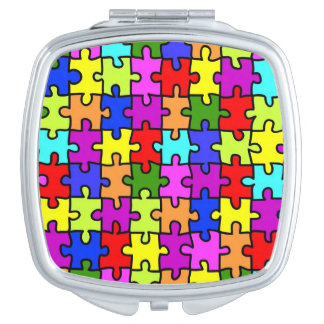 Colorful rainbow jigsaw puzzle pattern makeup mirrors