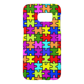 Colorful rainbow jigsaw puzzle pattern samsung galaxy s7 case