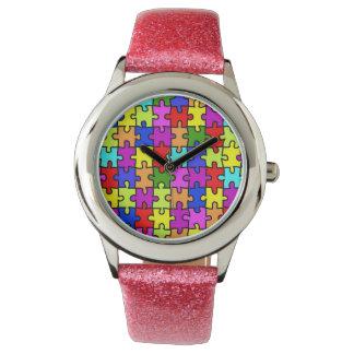 Colorful rainbow jigsaw puzzle pattern wrist watch