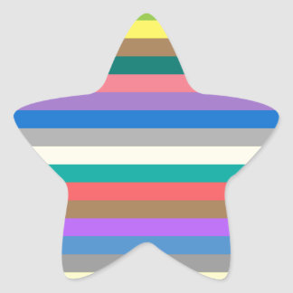 Colorful rainbow lines pattern star sticker