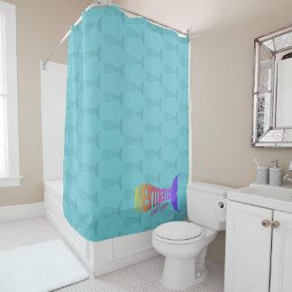 Colorful Rainbow Mermaid Tail Shower Curtain