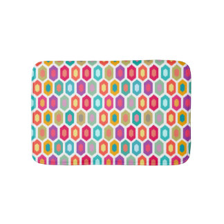 Colorful Rainbow Modern Ikat Pattern Bathroom Mat