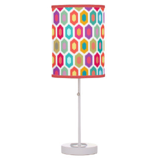 Colorful Rainbow Modern Ikat Pattern Desk Lamps