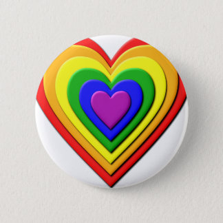 Colorful Rainbow Multi-Layered Concentric Hearts 2 Inch Round Button