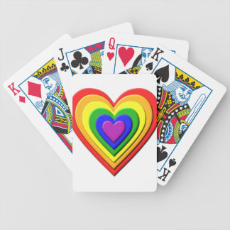 Colorful Rainbow Multi-Layered Concentric Hearts Bicycle Playing Cards