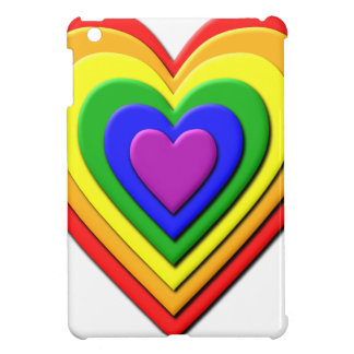 Colorful Rainbow Multi-Layered Concentric Hearts Case For The iPad Mini