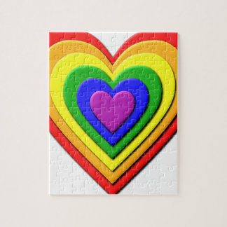 Colorful Rainbow Multi-Layered Concentric Hearts Jigsaw Puzzle