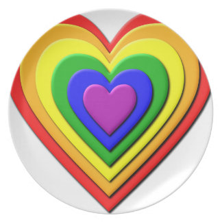 Colorful Rainbow Multi-Layered Concentric Hearts Plate