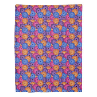 Colorful Rainbow Multicolored Floral Dahlia Duvet Cover