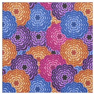 Colorful Rainbow Multicolored Floral Dahlia Fabric