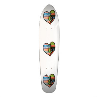 Colorful Rainbow Music Heart Customizable Skate Board Deck