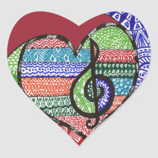 Colorful Rainbow Music Heart Doodle Personalized Heart Sticker