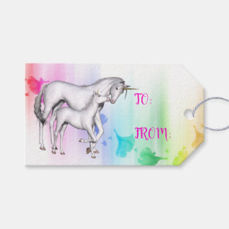 Colorful Rainbow | Mystical Unicorn Mom and Baby Gift Tags